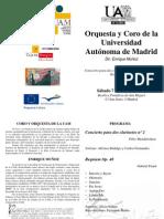 Programa Concierto del Coro de la UAM