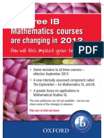 All three IB Mathematics syllabuses are changing in 2012