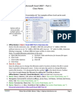 Excel 2007 Part 1 Class Notes