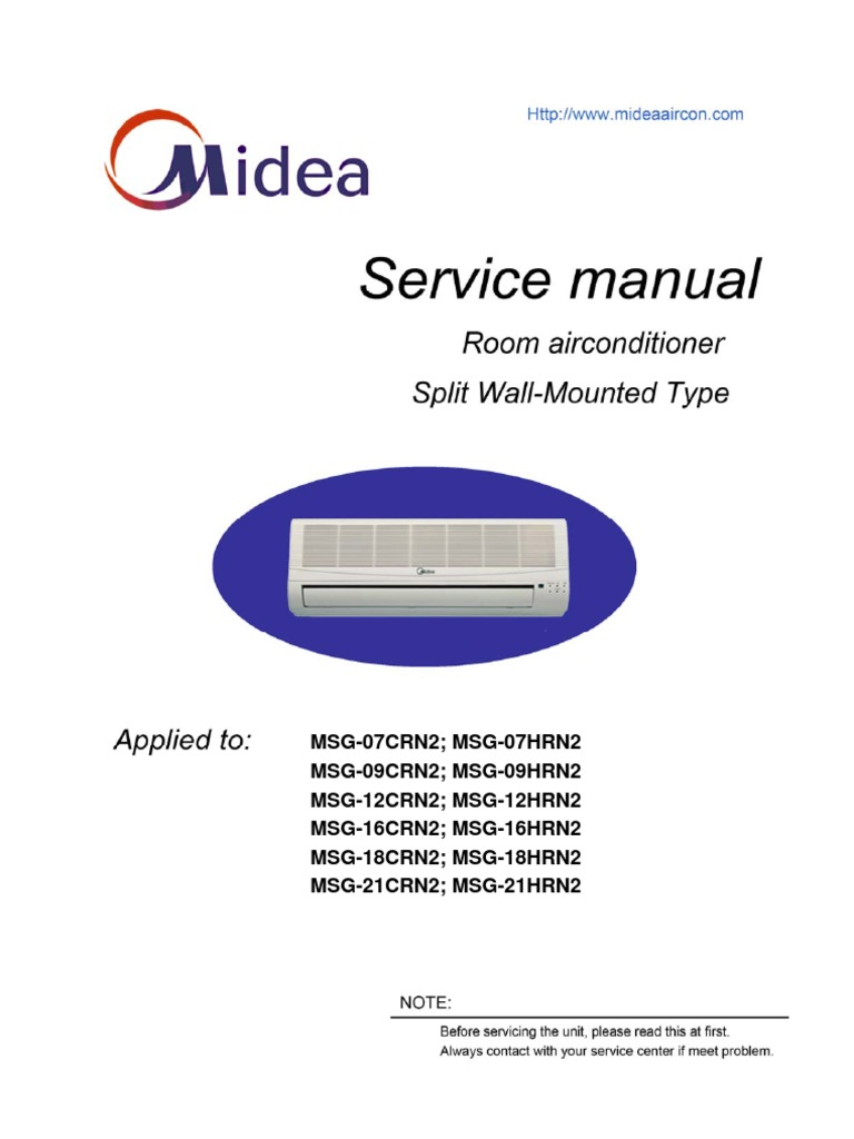 Midea-MSG Service Manual | Air Conditioning | Hvac