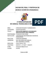 Estudio Educacion Ambiental en Unidades Educativas Del Ciclo Primario Resumen Ejecutivo