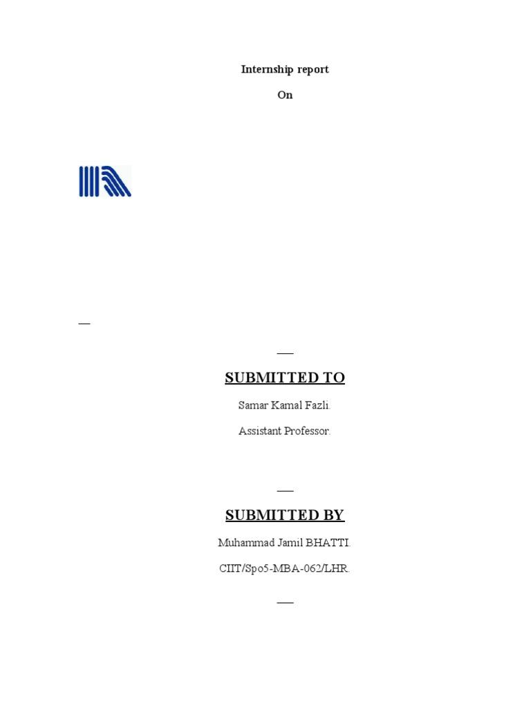 Internship Report FormatFinal Swot Analysis – Sample Internship Report Template