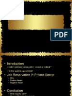 Job Reservations in Private Sector