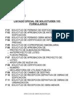 LISTADO DE FORMULARIOS