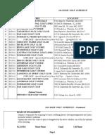 2011 Golf Schedule