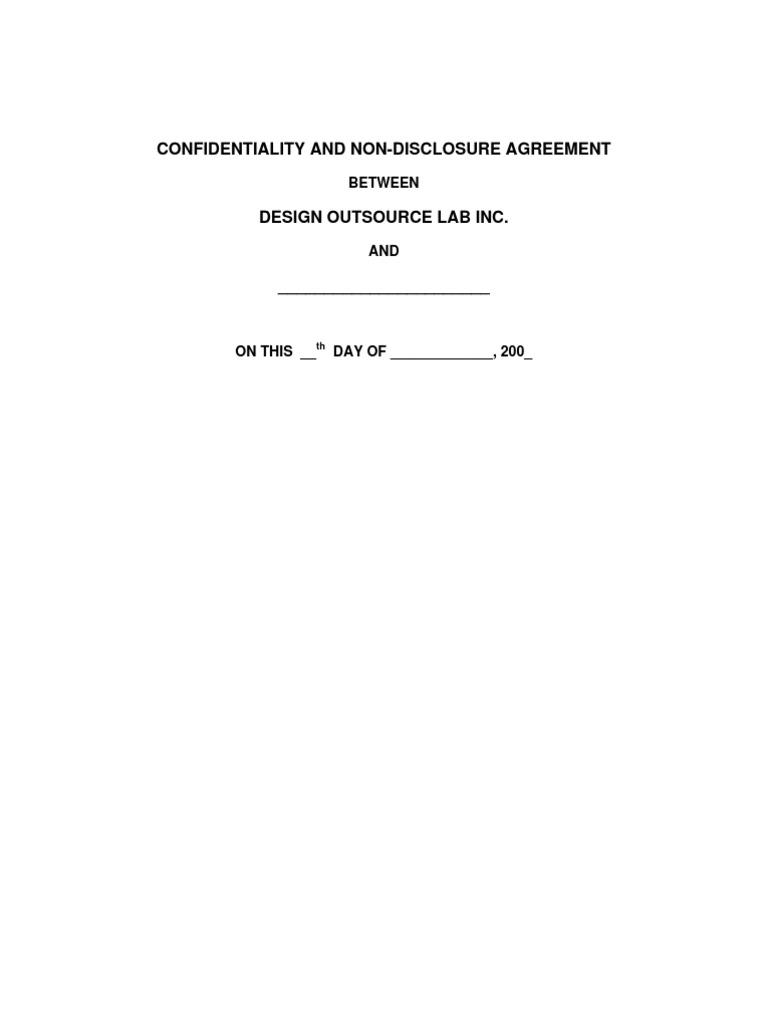 Nda Sample Philippines Non Disclosure Agreement Confidentiality
