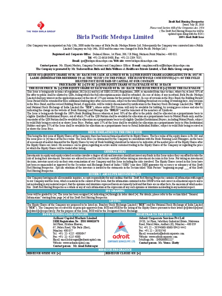 Birla Pacific Medspa Ltd Stocks Risk