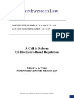 A Call to Reform US Disclosure Based Regulation
