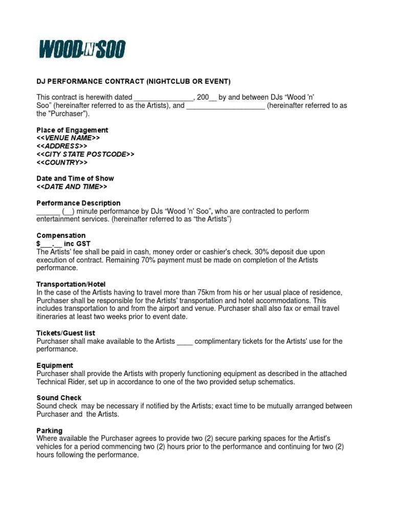 Nightclub event contract sample pronofoot35fo Image collections