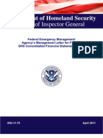 Federal Emergency Management Agency's Management Letter for FY 2010 DHS Consolidated Financial Statements Audit