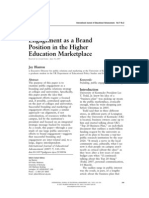 Engagement as a Brand Position in the Higher Education Marketplace