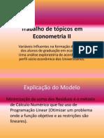 Trabalho de tópicos em Econometria II