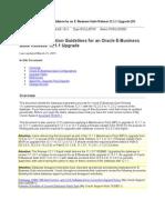 Database Preparation Guidelines for EBS Upgrade