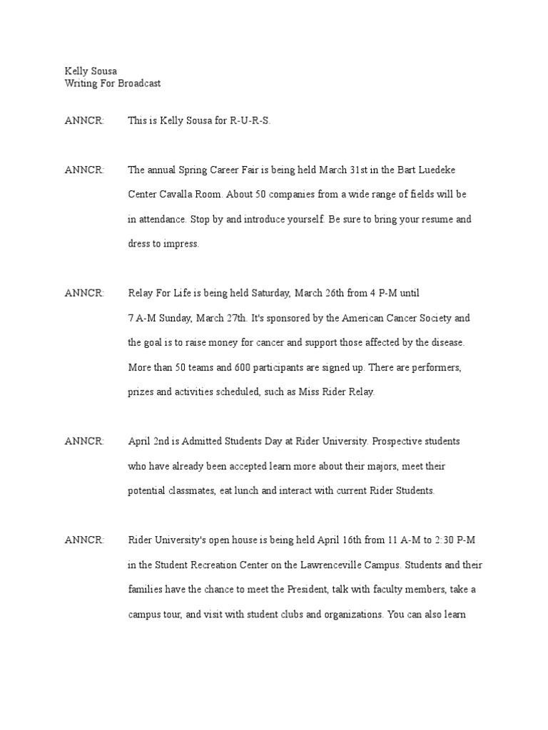2 minute radio newscast script