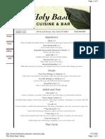 holy basil menu