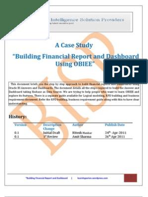 Financial Reporting Using OBIEE   Balance Sheet   Net Income