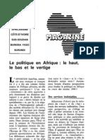 Le Politique en Afrique, le haut, le bas et le vertige