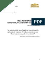 La experiencia de la sociedad civil ecuatoriana y la aplicación de objetivos de la Comunicación para el Desarrollo en medios de comunicación