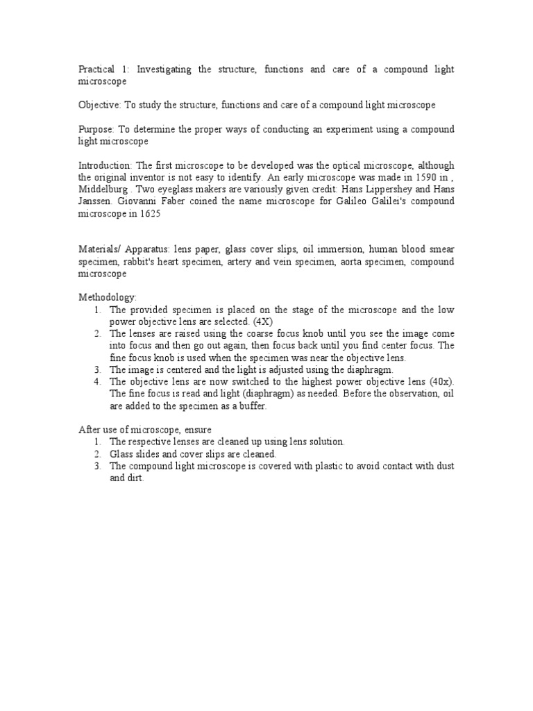 lab report basic techniques in microscopy