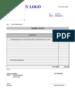Sample Debit Note