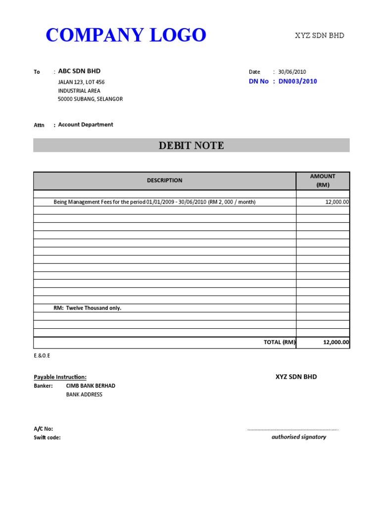 Sample Debit Note – Debit Note Sample