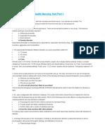 Psychiatric Nursing Review Test