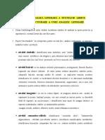 MODELE   DE   ANALIZĂ  LITERARĂ  A  TEXTELOR   LIRICE