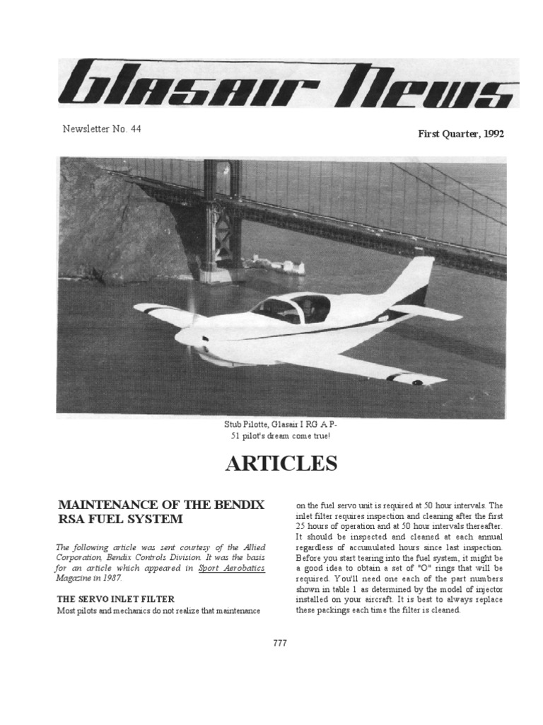Article On Fuel Injection Instrument Flight Rules Experimental Bendix Filters Aircraft Association