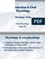 Introduction to Oral Physiology & Physiology of Pain