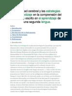 Bilateralidad cerebral y las estrategias de aprendizaje en la comprensión del discurso escrito en el aprendizaje de una segunda lengua