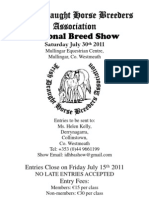 Irish Draught Horse Breeders Association National Show 2011 Schedule