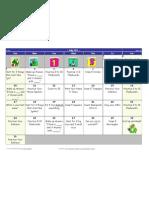 Kindergarten Summer Project Calendar