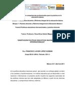 DISERTACIÓN POLITICAS EDUCATIVAS