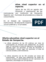 Oferta Educativa Nivel Superior en El Estado De