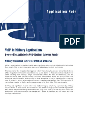 App Note VoIP in Military Applications | Voice Over Ip