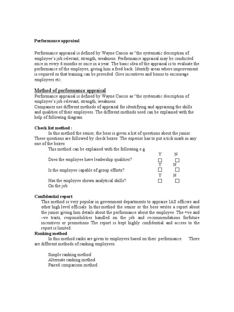 performance appraisal methods performance appraisal evaluation