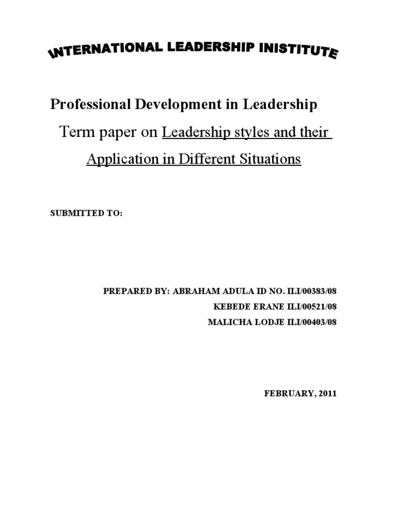 different leadership styles for different situations