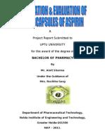 Preparation & Evaluation of Micro Capsules of Aspirin_2
