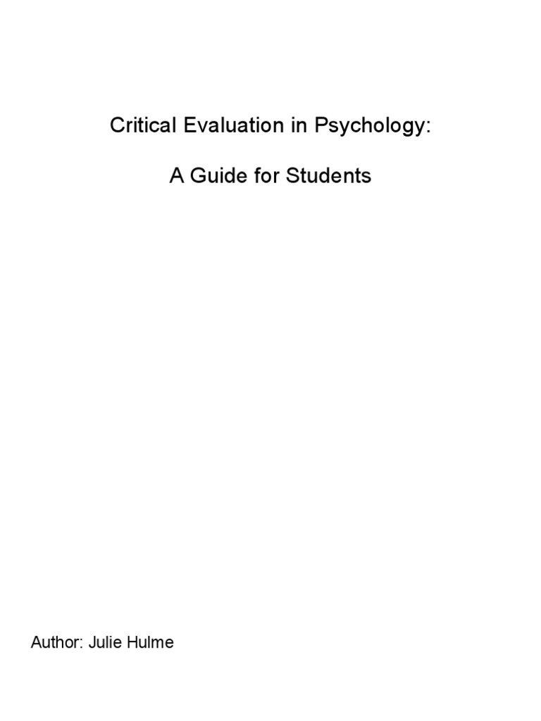 critical evaluation psychology