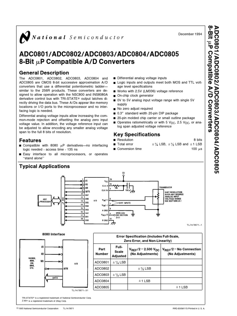 Adc0804 Pin Diagram | Adc0804 Capacitor Power Supply
