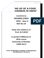 Project - Setting Up of Food Business in India