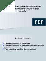 Parametric Versus Non Parametric Statistics