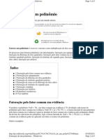 FATORAÇÃO DE POLINOMIOS