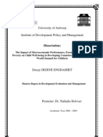 The Impact of Macro Economic Performance- Foreign Finance and Poverty on Child Well-Being-Dereje's Dissertation for Masters Degree UA-IDPM 2003