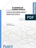 Aid and Savings in Sub- Saharan Africa