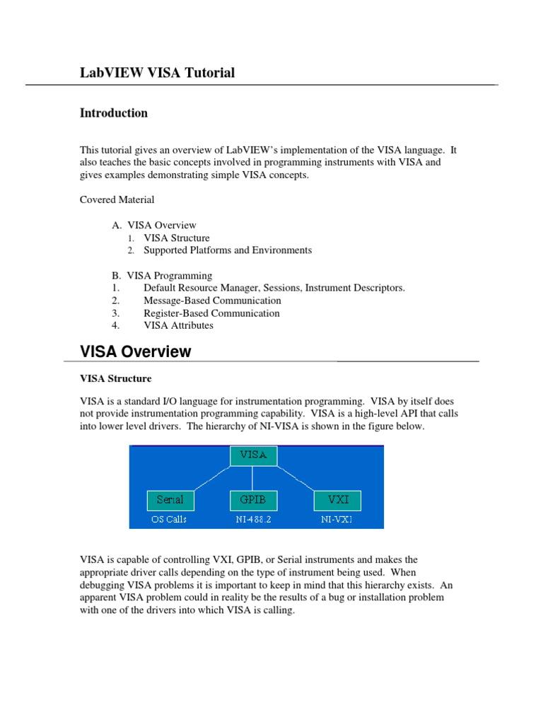 NI - VISA Tutorial | Application Programming Interface | String