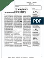 LA PRESENZA FEMMINILE IN CRESCITA FINO AL 15%  (SOLE 24 ORE)