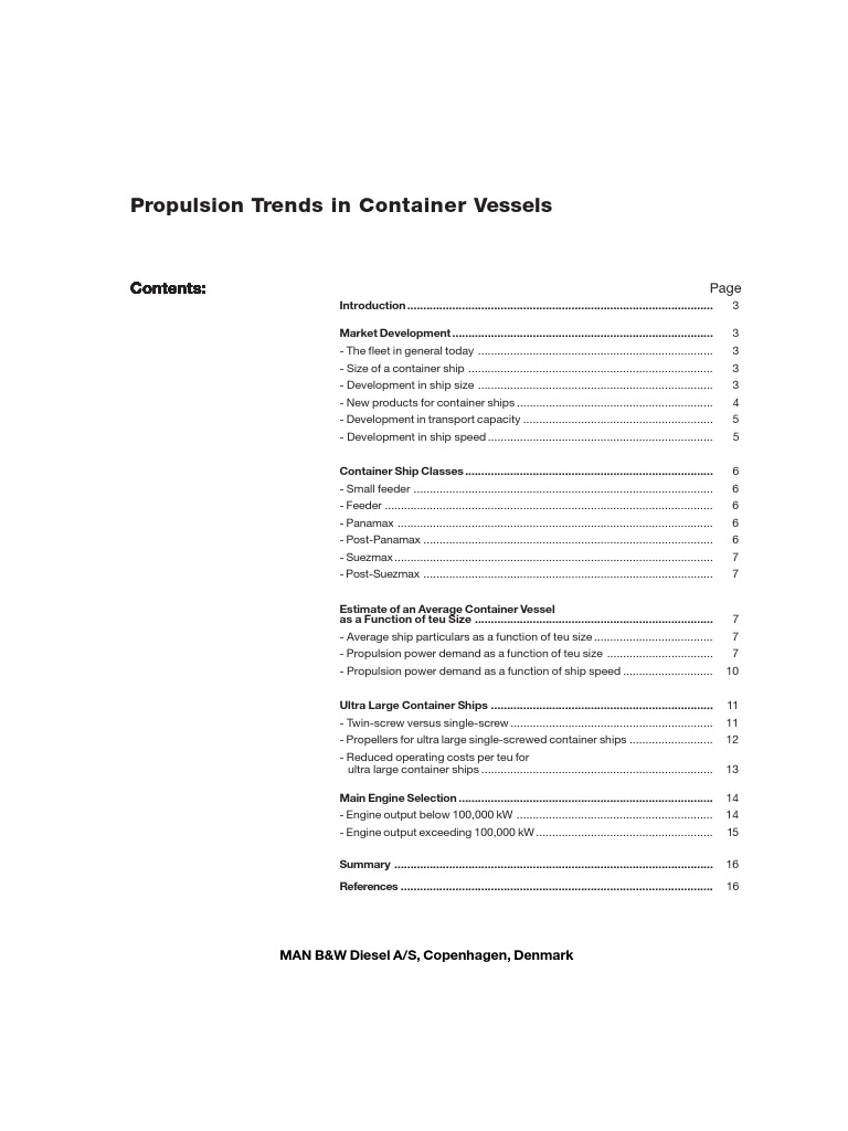 Propulsion Trends in Container Vessels | Water Transport | Shipping