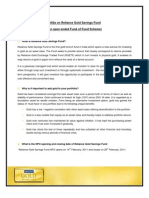 Reliance Gold Savings Fund FAQs