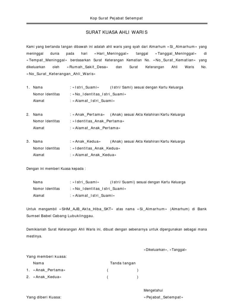 Contoh Surat Keterangan Ahli Waris Untuk Bank - Bagi ...